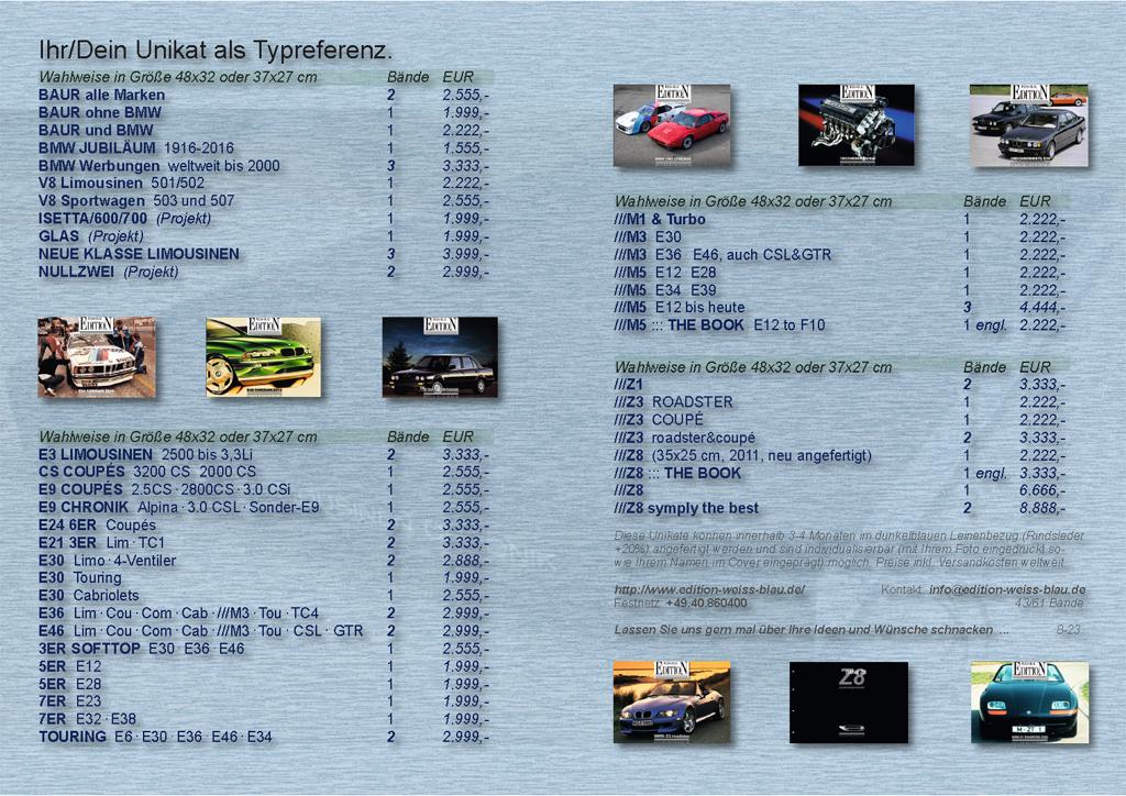 BMW book, bmw Z8 E9 csl, bmw E46 book, E3 sedan, BAUR book ...